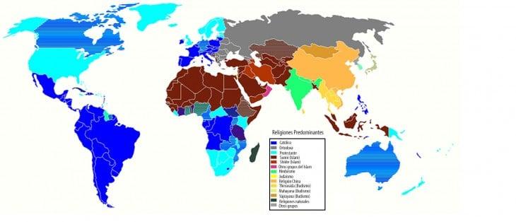 mapa de religiones predominantes
