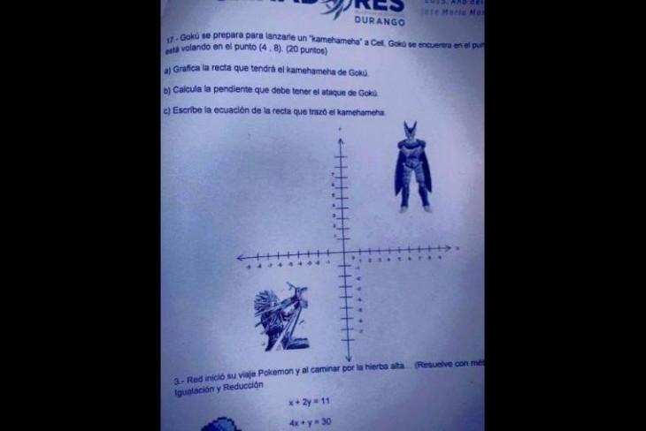 examen en donde utilizaron a figuaras de dragon ball para realizar unos calculos