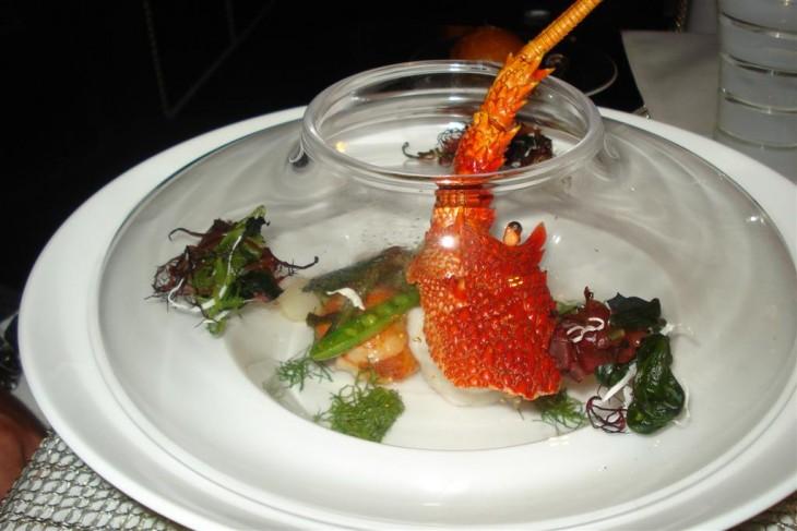Cauda de lagosta prato Joël Robuchon, Las Vegas, Nevada