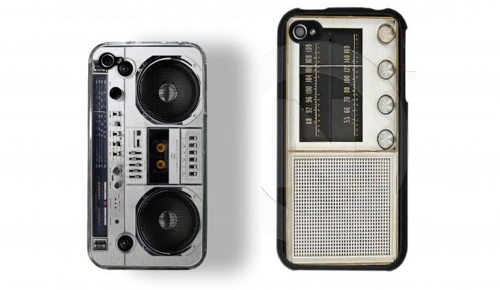 funda para celular en forma de radio musical de los 80's