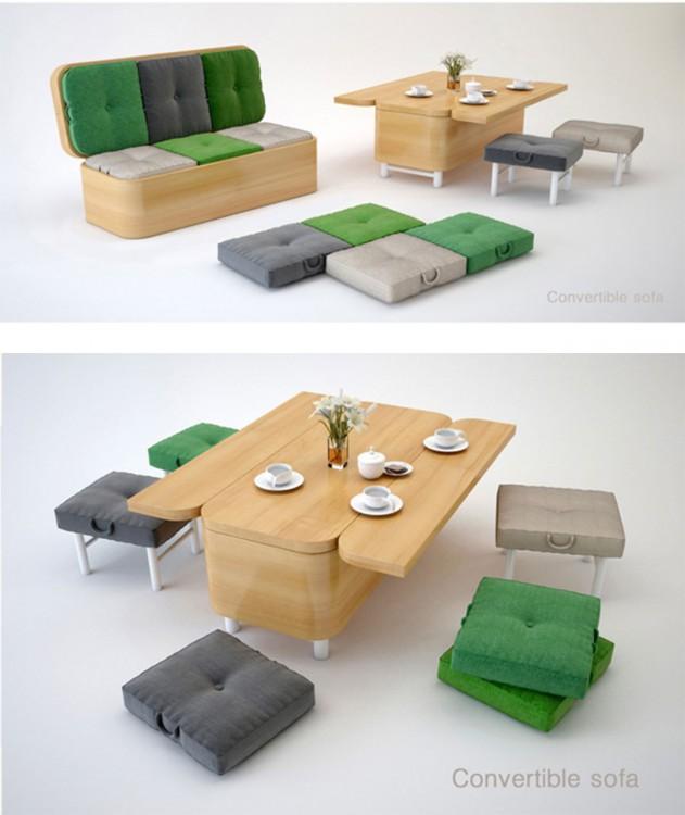 sofa que se convierte en comedor