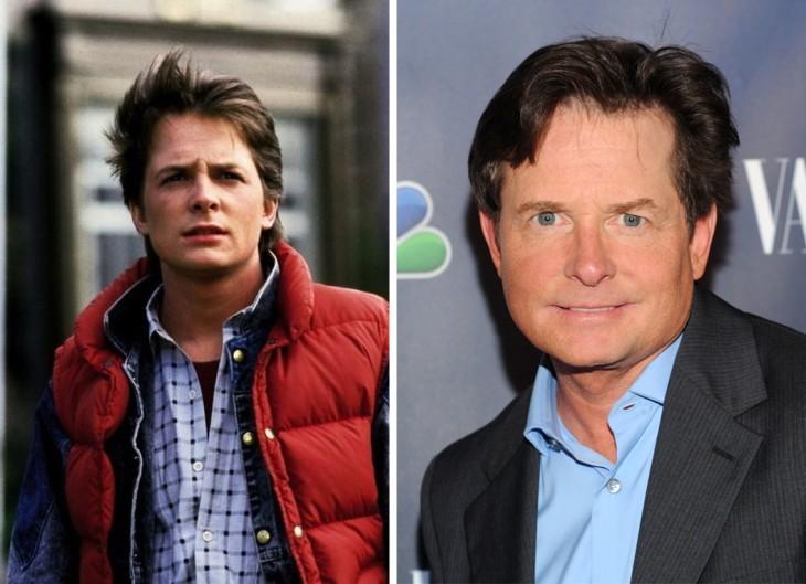 Fotografía del antes y después de Michael J. Fox, protagonista de la película volver al futuro