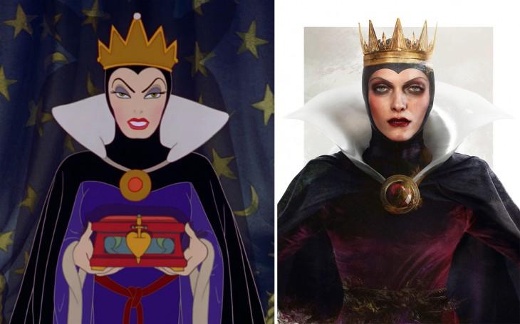 Ilustración de la reina malvada en caricatura y en la vida real