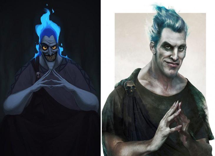 ilustraciones del dibujo animado y la vida real de Hades de la película hércules