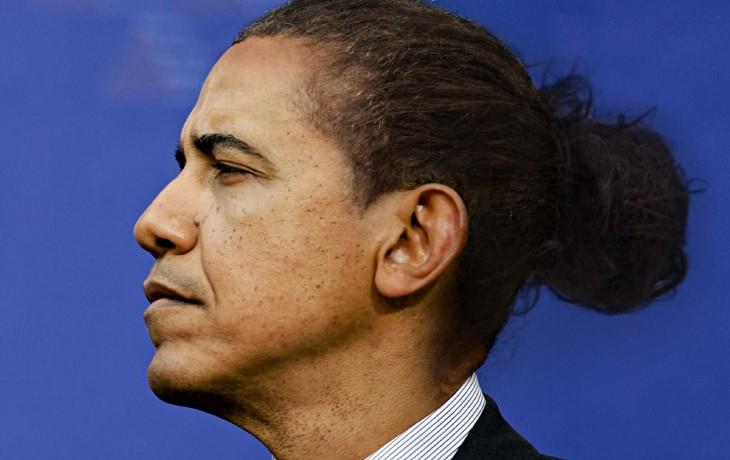 Barack Obama con colitas de caballo