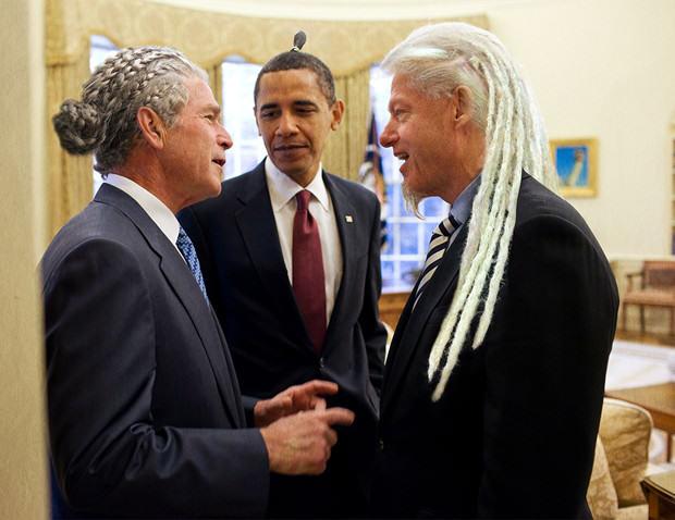 Bush, Obama y Clinton en el Funeral de Mandela en modo Hipster