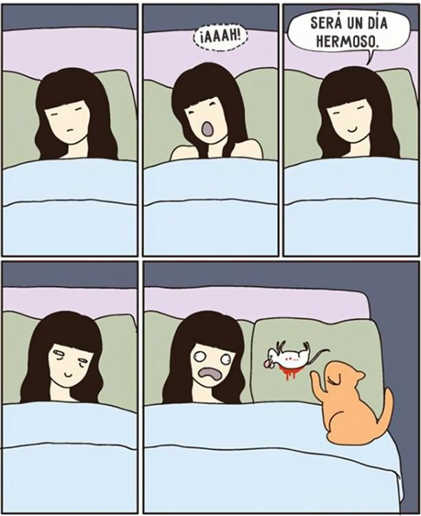 comic sobre como es que un gato te trae un raton a tu cama para demostrarte cuanto es que te ama