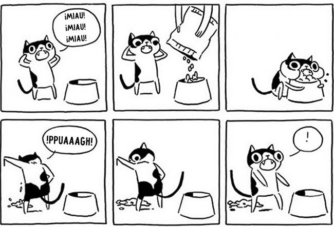 comic mostrando como es la forma de comer de un gato