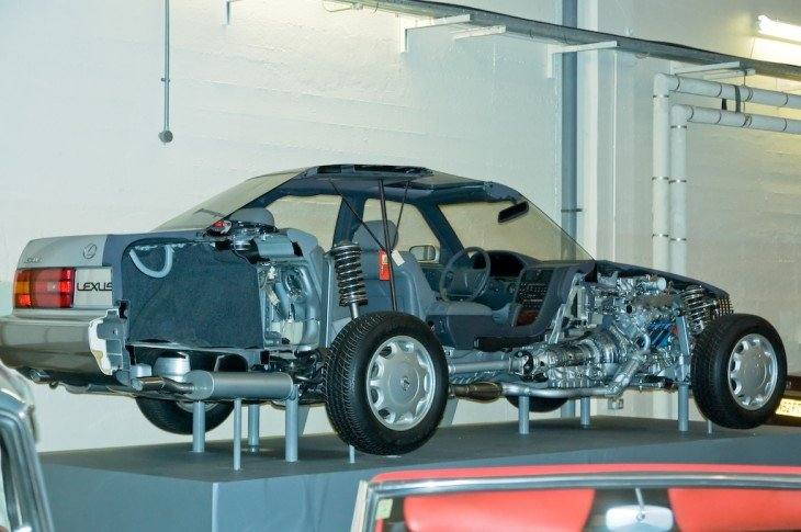 estructura interior de un coche partido a la mitad