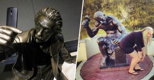 La gente se divierte mucho con estas estatuas