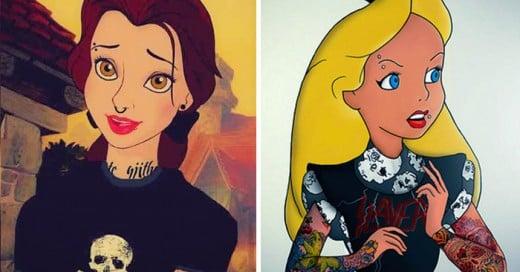 Ilustraciones de Las Princesas de Disney versión Punks y Emos