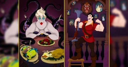 Justin Turrentine Ilustrador se imagina como seria la vida de los vilanos de Disney aquí la muestra de su trabajo