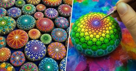 Esta artista logra dar vida a través del color a unas simples piedras