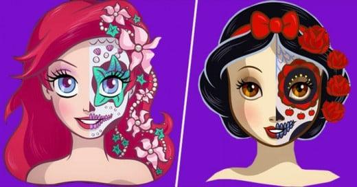 Las princesas de Disney a un estilo muy mexicano de la celebración día de los muertos