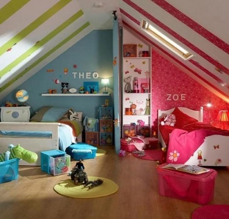 habitación dividida para una niña y un niño en colores rosa y verde