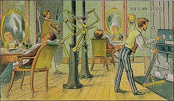 ilustración de una barbería automática en Francia 2000