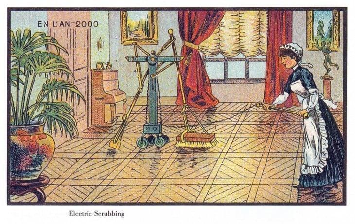 Robot en Francia 2000 que ayuda en las labores del hogar