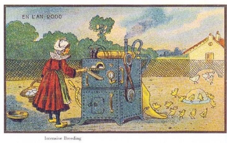 ilustración de una campesina en Francia 2000 con una maquina de donde salen pollos