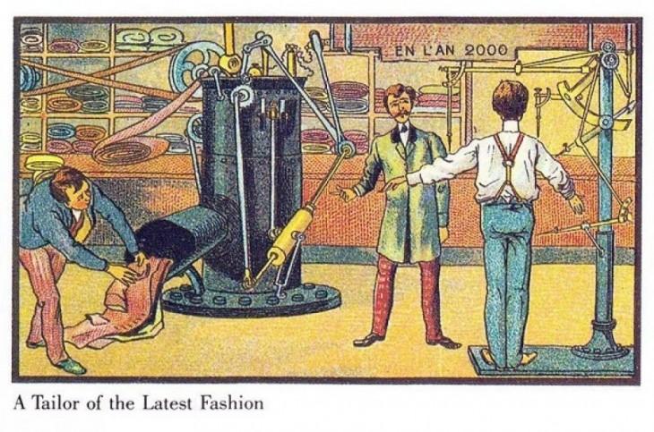 ilustración de Francia en el 2000 donde se muestra una sastrería