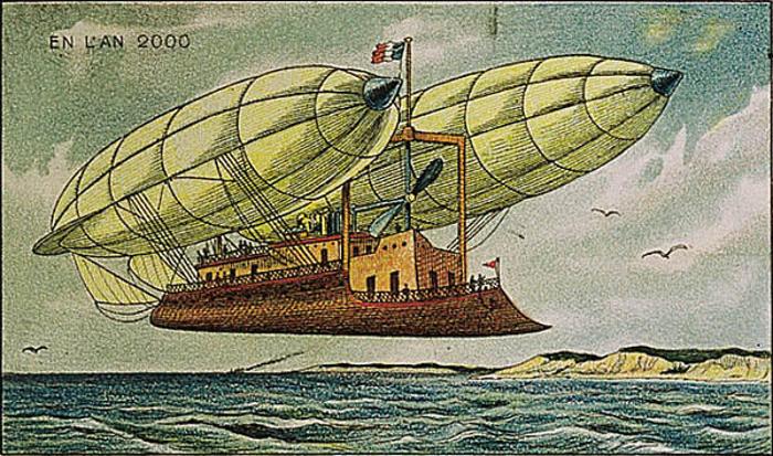 ilustración de un gran barco volando sobre el mar en Francia 2000