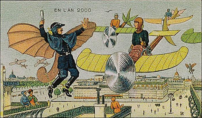 ilustración de Francia en el 2000 de personas sobre unos aviones