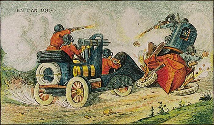 Ilustración de Francia en el 2000 de un choce de personas en sus coches