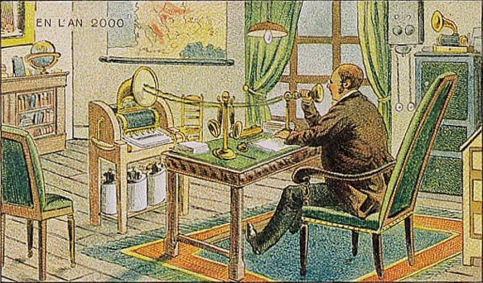 ilustración de una persona dictando un texto en un aparato del año 2000 en Francia