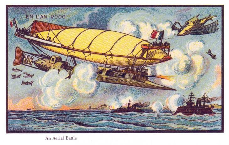 ilustración de un barco volando sobre el mar