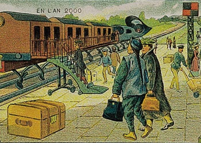 Ilustración de personas a punto de abordar un tren de Francia en el 2000