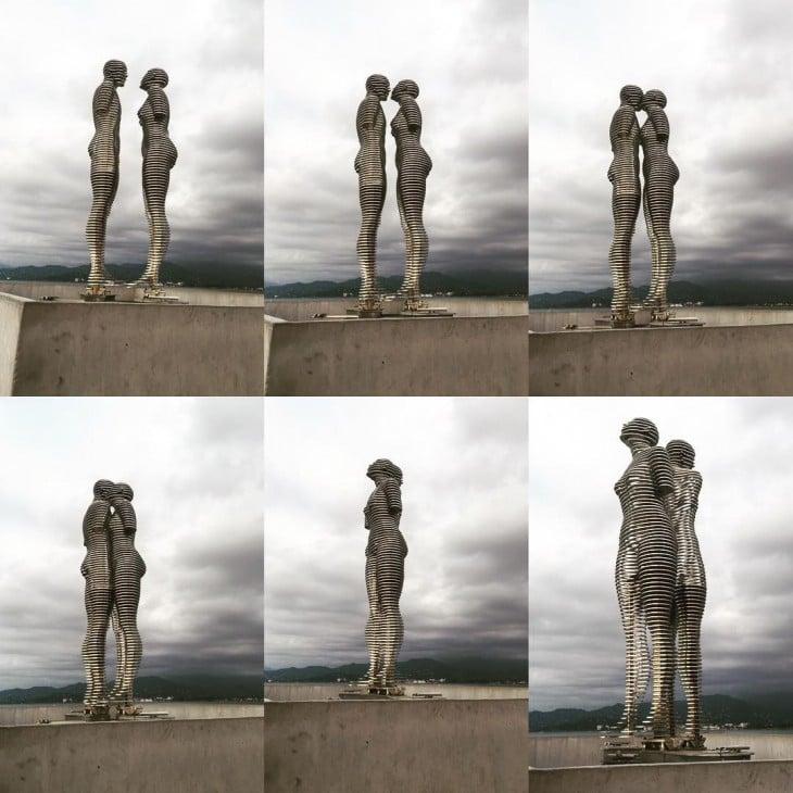serie de seis fotos que muestran el movimiento de la estatua de amor en Georgia