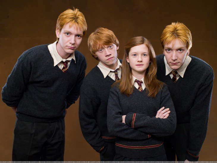 hermanos de Ron en la saga de Harry Potter