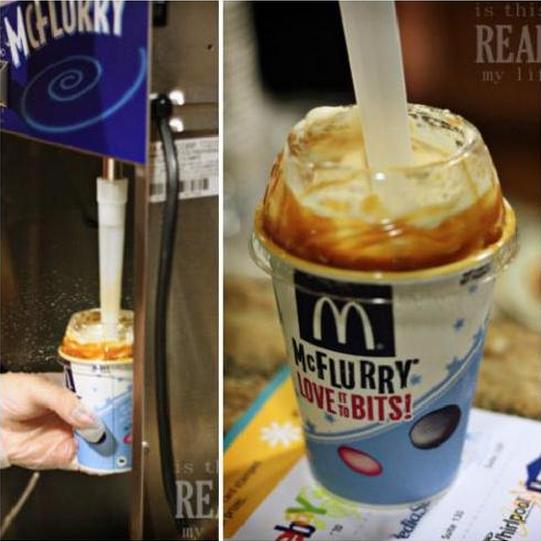 imagen dividida en dos partes donde muestra como se prepara un McFlurry