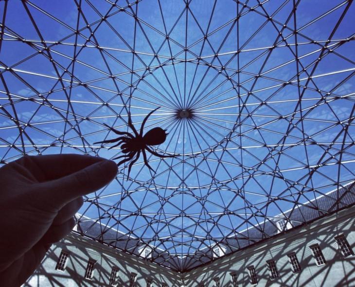 Museo Marítimo en Amsterdam con un recorte de papel de una araña que simula estarlo escalando