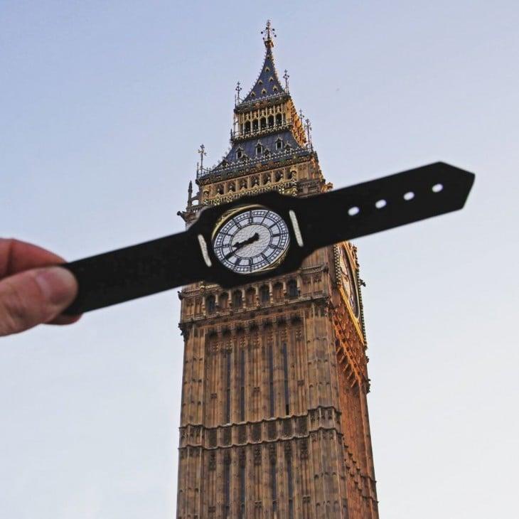 O fotógrafo transformou o Big Ben em um relógio de pulso