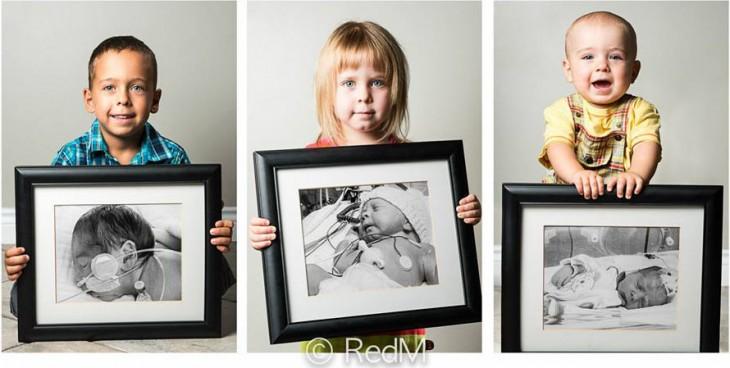 Imagen dividida en tres partes donde se ven niños sosteniendo unos retratos