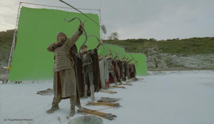 pantalla verde en una escena de la película el rey Arturo