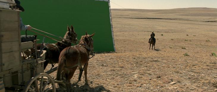 detrás de cámaras grabando una escena de la película The Homesman