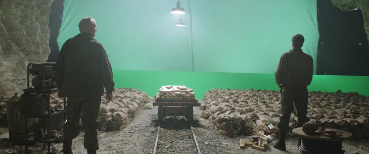 pantalla verde detrás de una escena en la película The Monuments Men