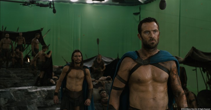pantalla verde detrás de una escena de la película 300