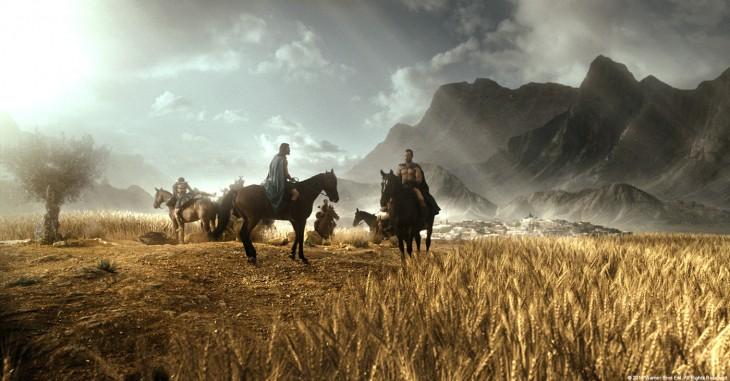 escena de personas en caballos durante la película de 300