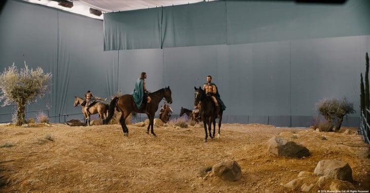 escena de la película 300 antes de usar los efectos especiales