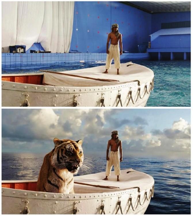 imagen antes y después de los efectos de una escena en la película la vida de pi