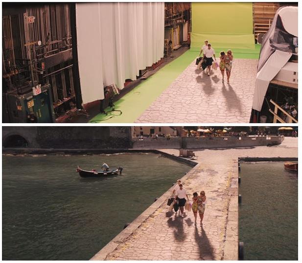 antes y después de los efectos especiales de una película de el lobo de Wall Street
