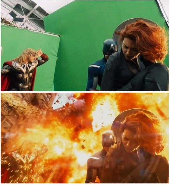 imagen antes y después de los efectos especiales en la película de los vengadores