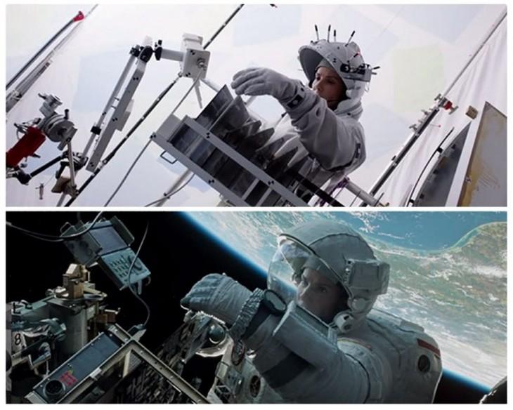 foto del antes y después de los efectos especiales en una escena de la película de Gravedad