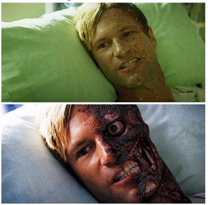 personaje de la película The Dark Night antes y después de los efectos especiales