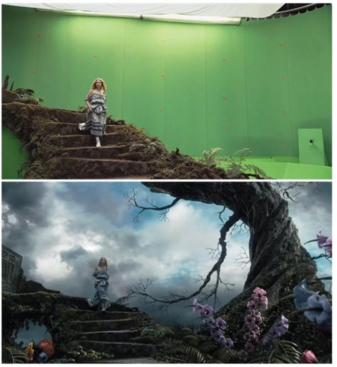 escena de la película alicia en el país de las maravillas con y sin efectos especiales