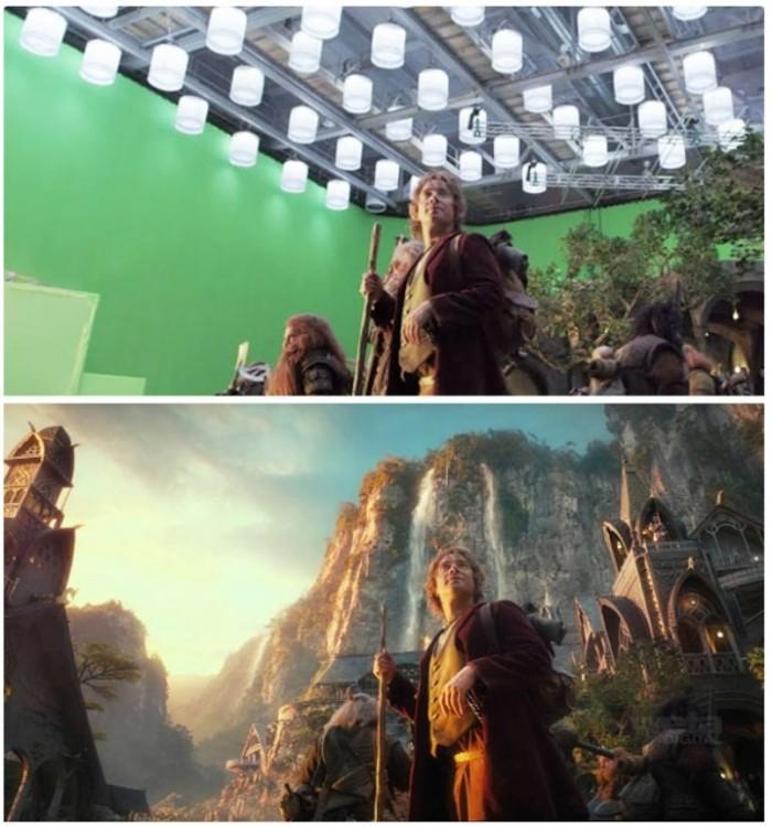escena de la película Hobbit antes y después de los efectos especiales