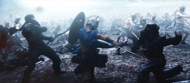 escena con efectos especiales de una pelea en la película de 300