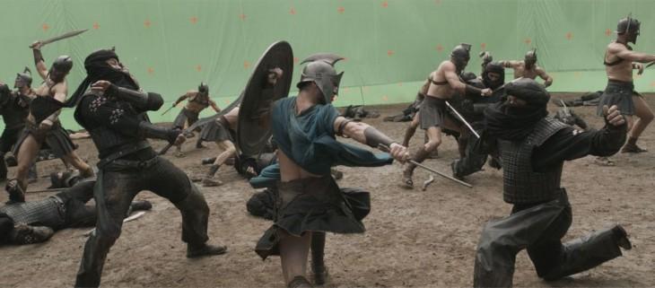 escena de pelea con pantalla verde de la película 300